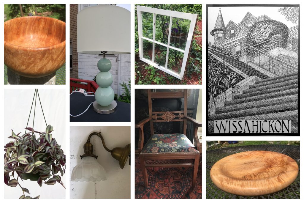A collage of yard sale items including handmade wooden bowls, lamps and light fixtures, house plants, vintage windows, and a 100 steps print.