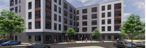 A rendering of a proposed 5-story, 90-unit apartment building